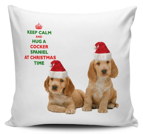 Christmas Keep Calm And Hug A Cocker Spaniel Novelty Cushion Cover